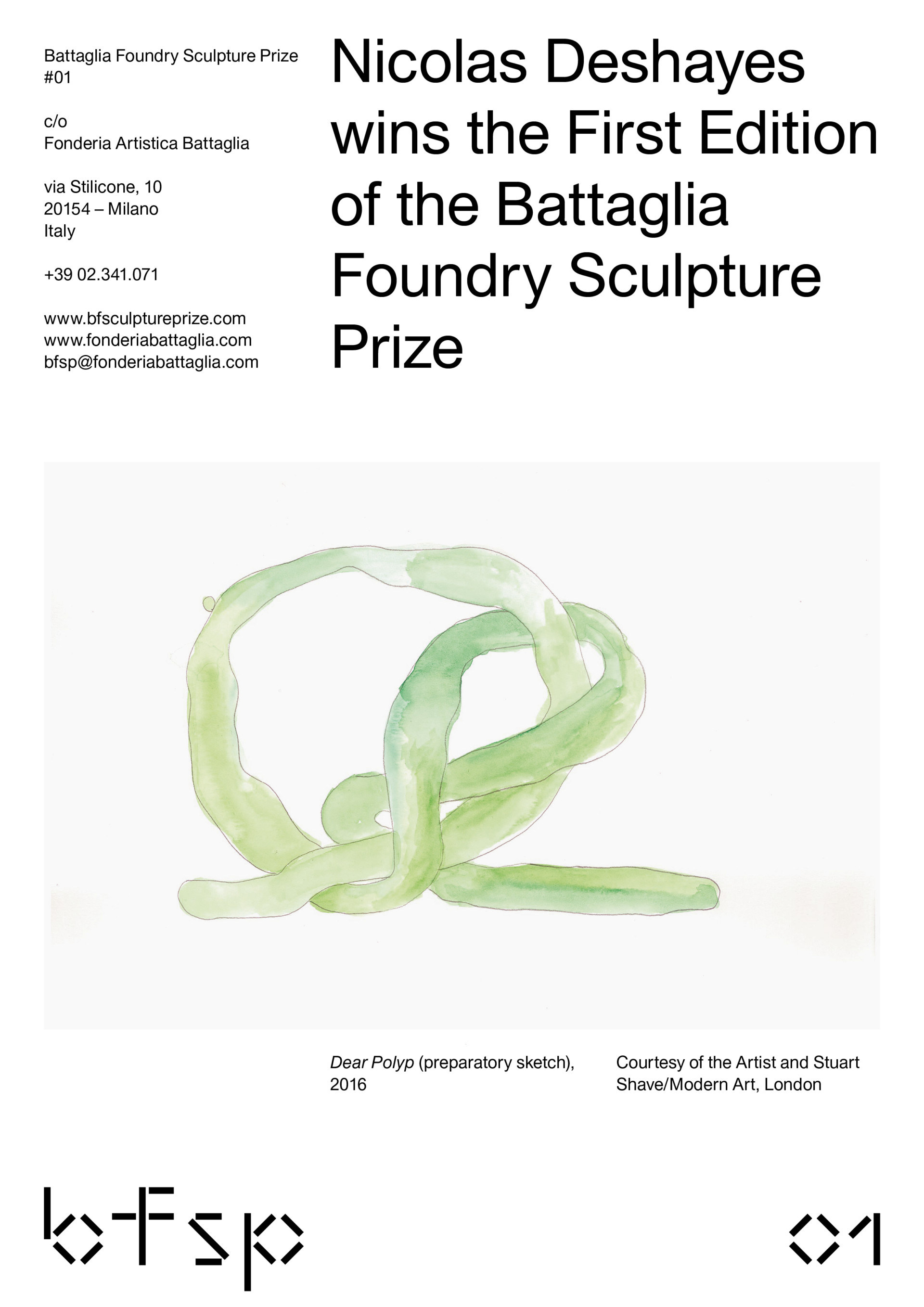 MOUSSE AGENCY BATTAGLIA FOUNDRY SCULPTURE PRIZE — 2016